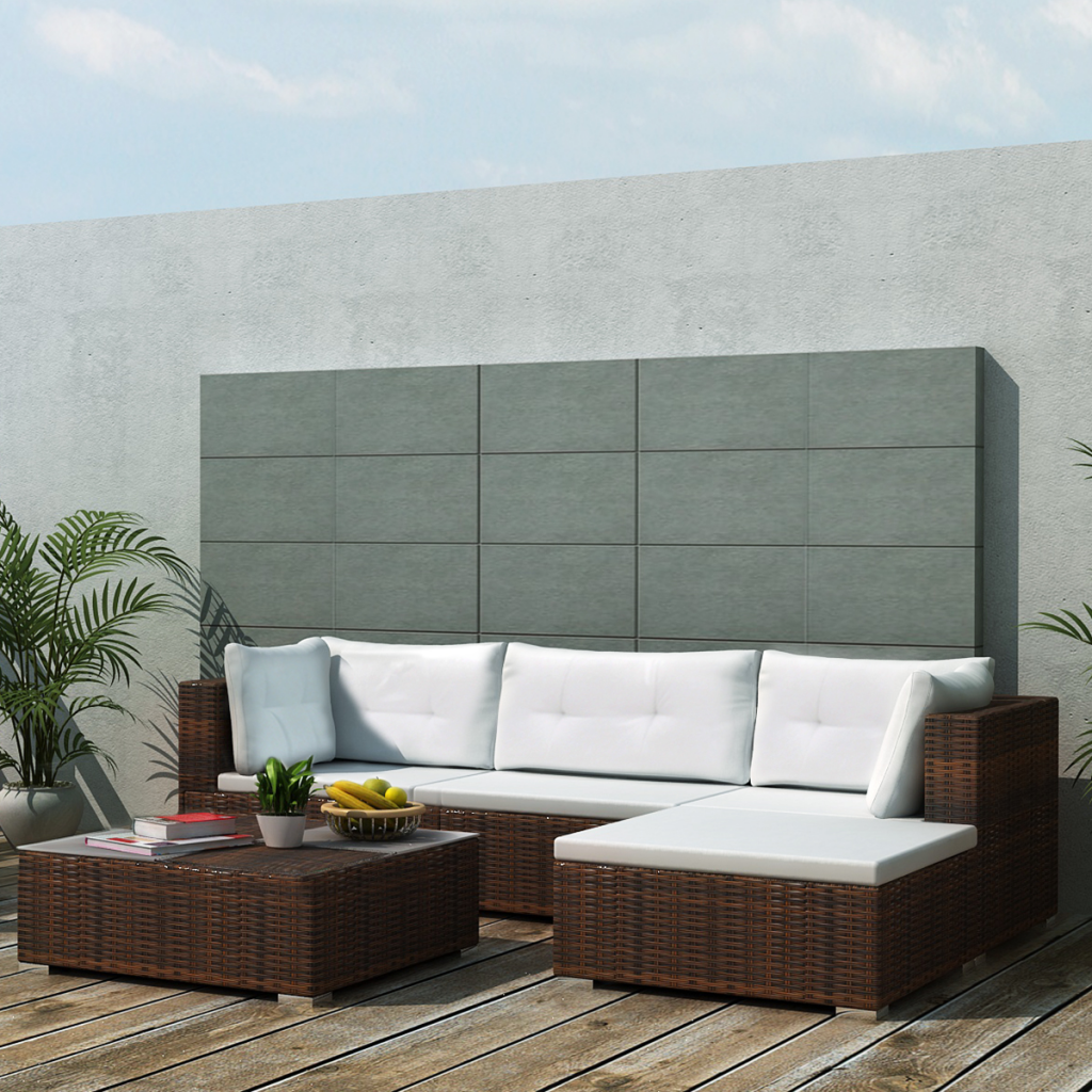 brown 14 Piece Garden Sofa Set Brown Poly Rattan - LovDock.com