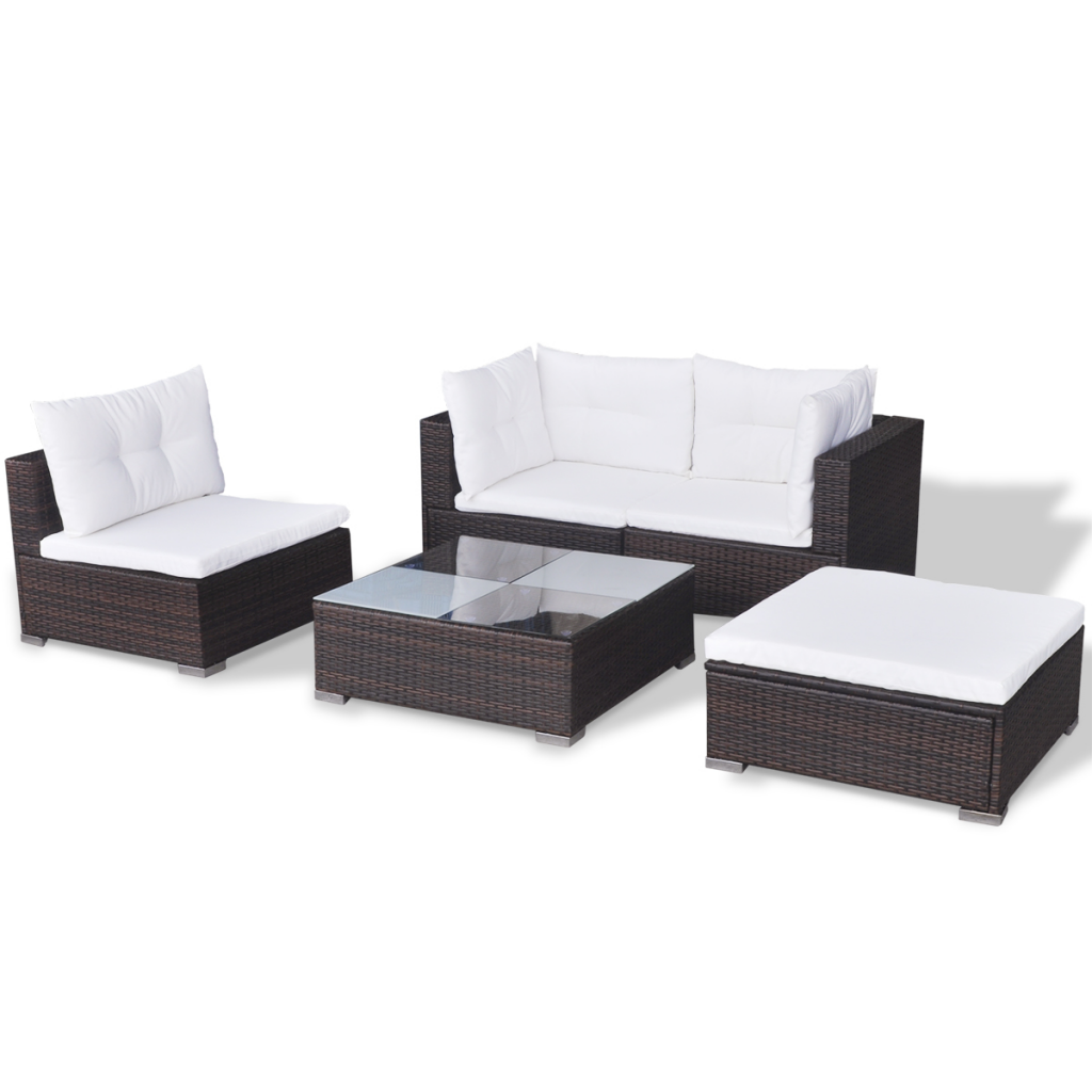 Finest Piece Garden Sofa Set Brown Poly Rattan With Polyrattan