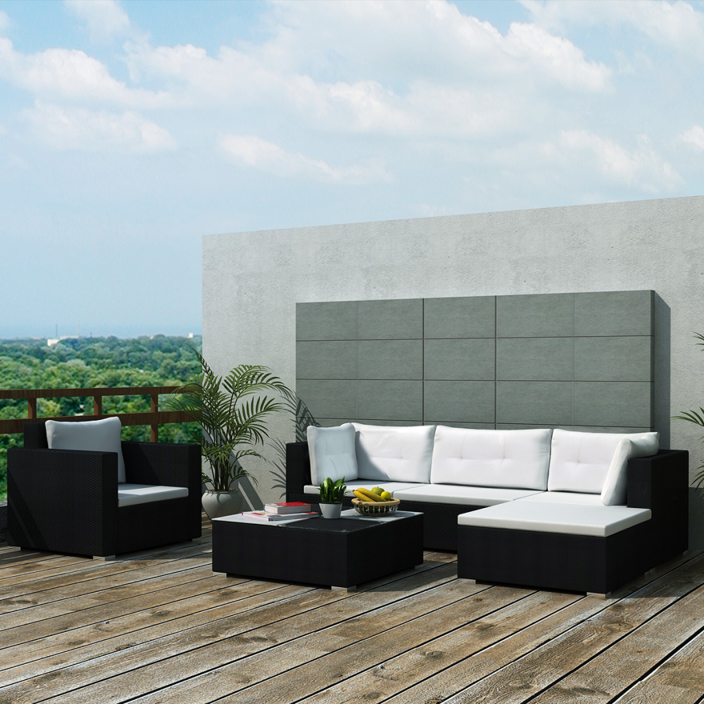 Gartensofa polyrattan  black 17 Piece Garden Sofa Set Black Poly Rattan - LovDock.com