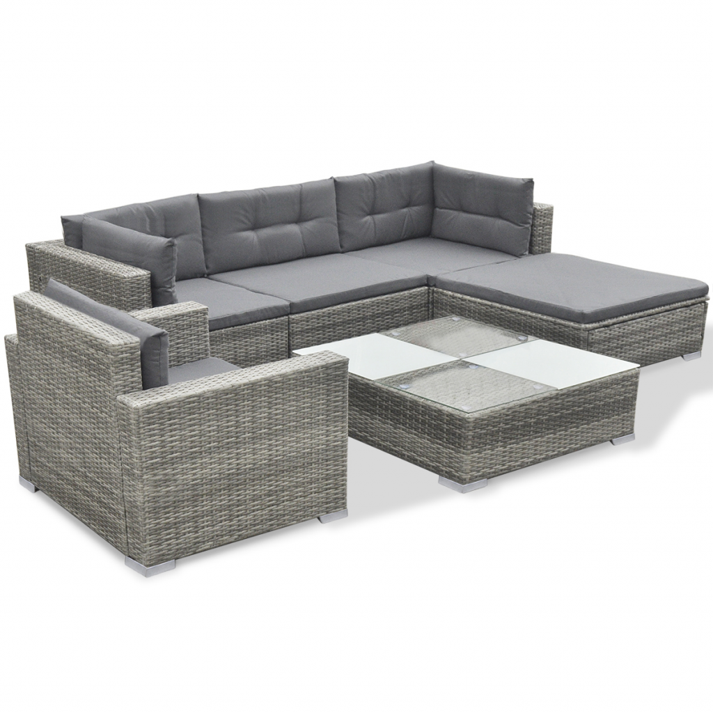 gray 17 piece garden sofa set gray poly rattan. Black Bedroom Furniture Sets. Home Design Ideas