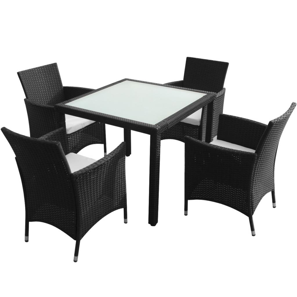 Nur 270.44€, neun Stück Gartenmöbel Set Schwarz Polyrattan - LovDock.com