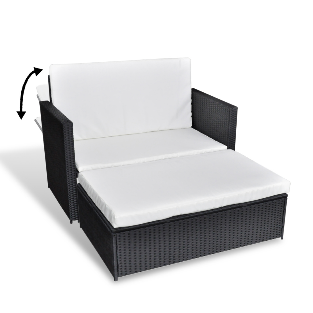 Sofa Bed 3 In 1 Folding Black Rattan