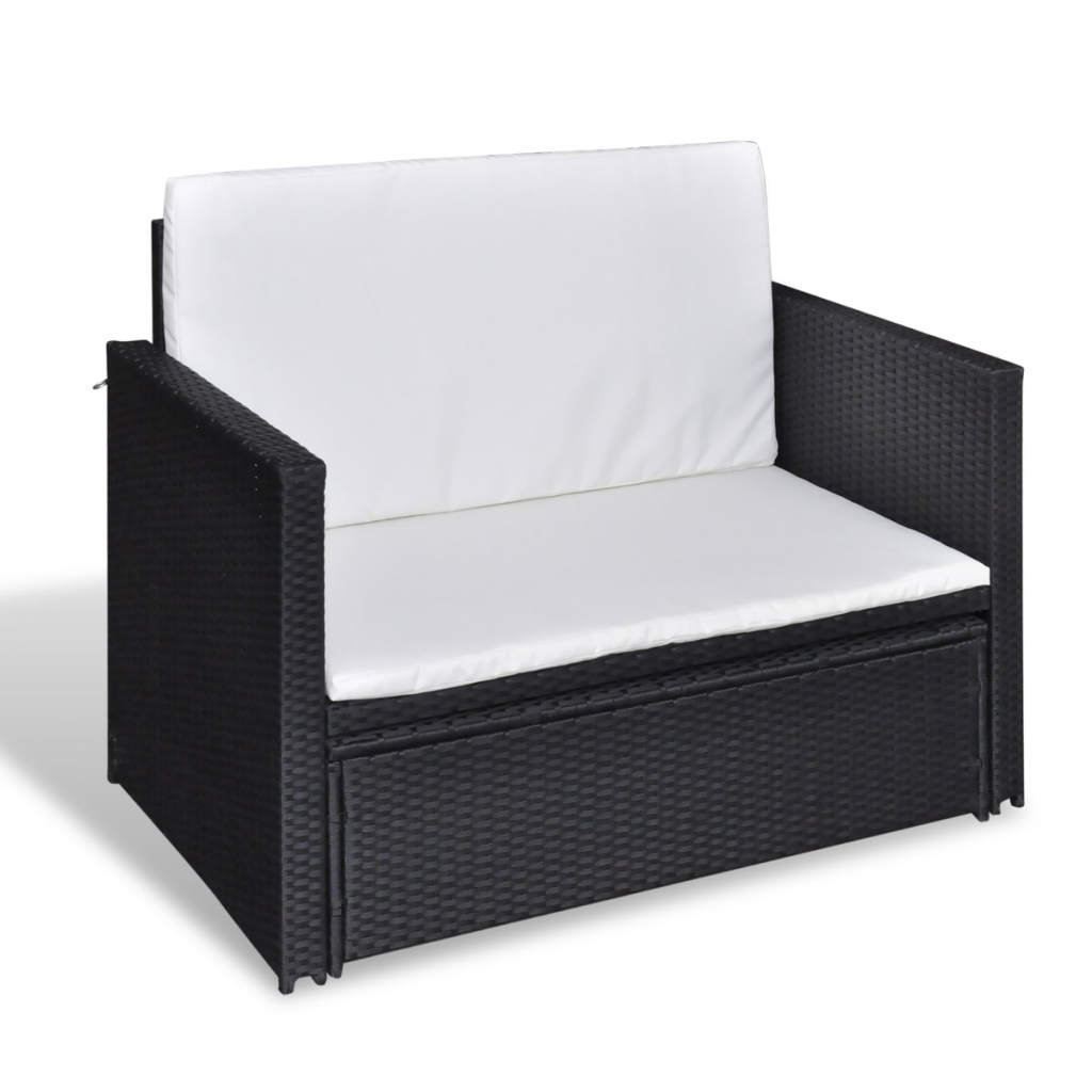 black Sofa Bed 3 in 1 Folding Black Rattan - LovDock.com