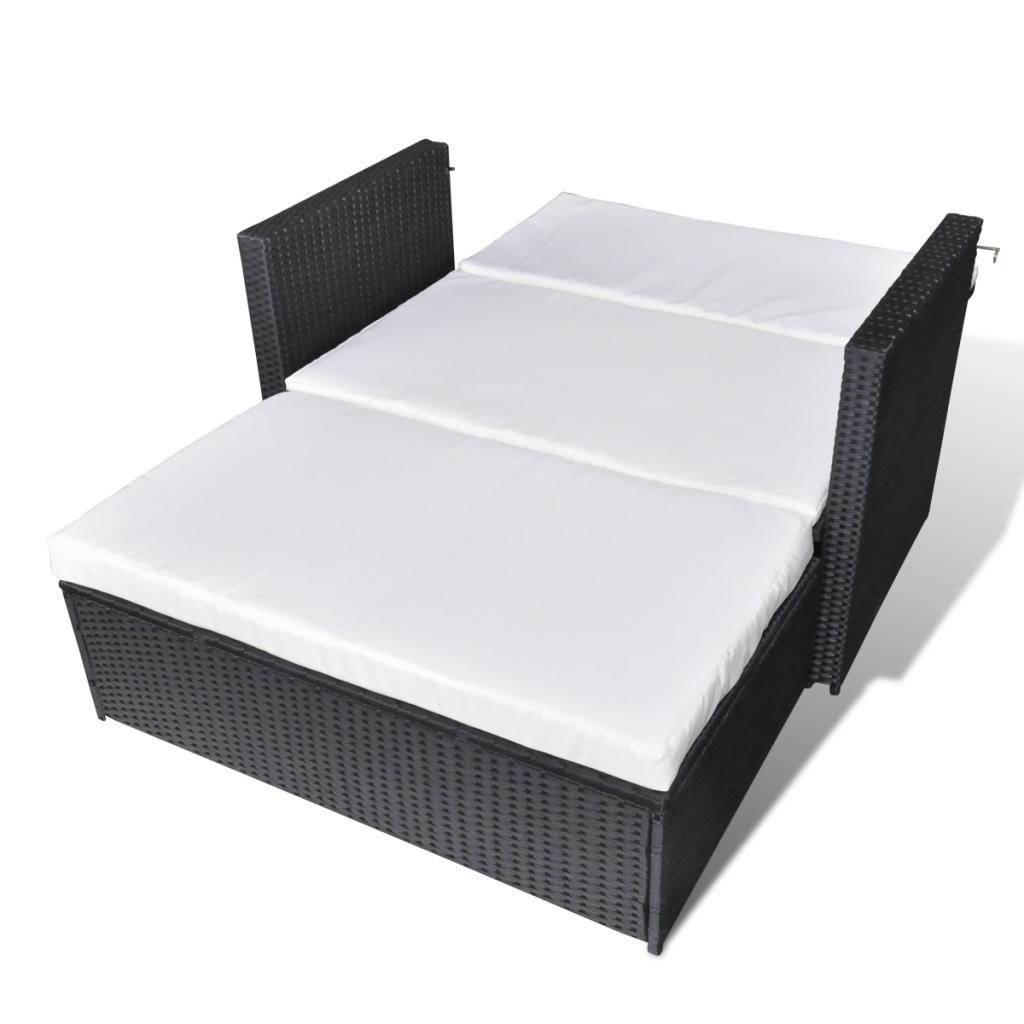 Sensational Black Sofa Bed 3 In 1 Folding Black Rattan Lovdock Com Short Links Chair Design For Home Short Linksinfo