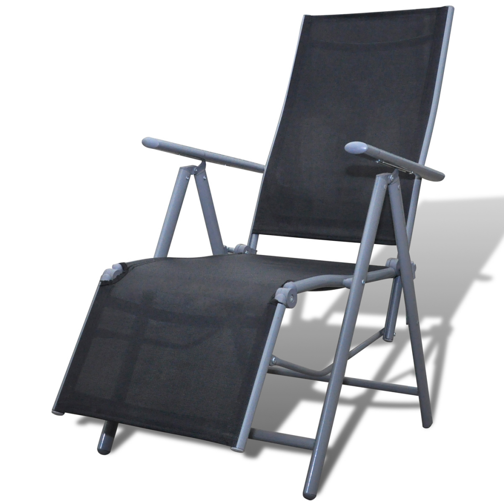 Black Garden Chair Textilene Tellaio Aluminum Footrest  sc 1 st  LovDock & black Black Garden Chair Textilene Tellaio Aluminum Footrest ...