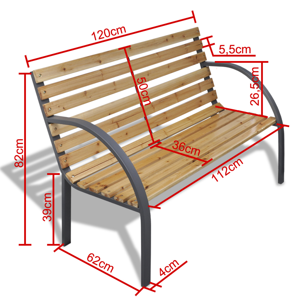 Wood Garden Bench With Wooden Slats And Iron Frame Lovdock Com