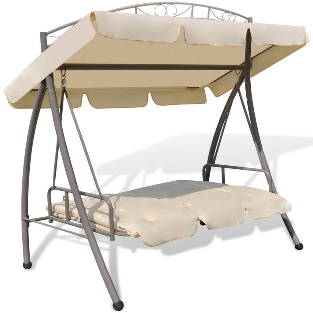 Attirant Outdoor Swing Chair / Bed Canopy Patterned Arch Sand White