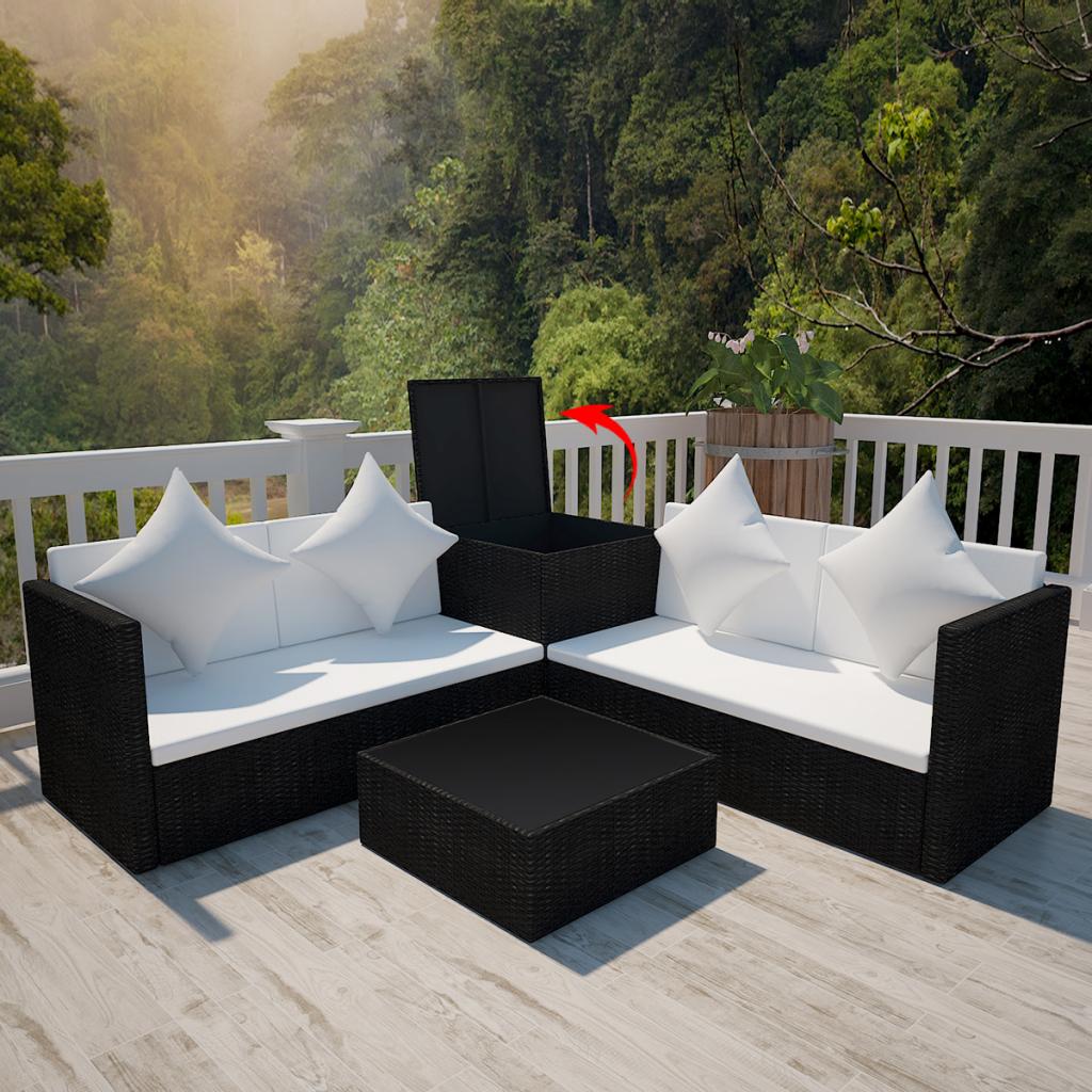 Salon De Jardin Original black black poly rattan lounge set with storage chest - lovdock