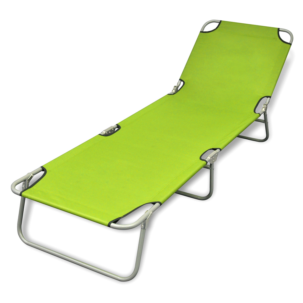 Foldable Sun Lounger With Adjule Backrest Le Green