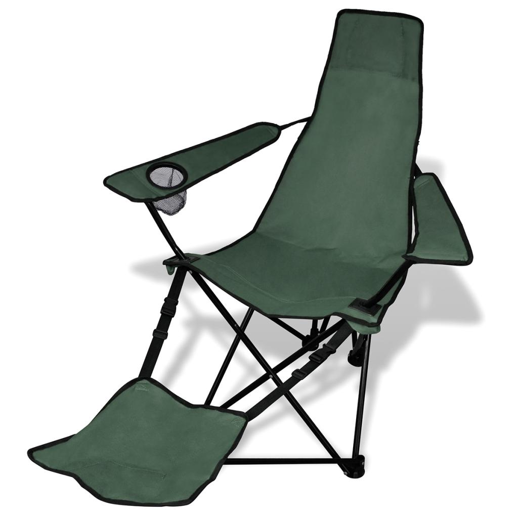 2 Stück Faltbarer Camping Stuhl Mit Fußstützen Dark Green