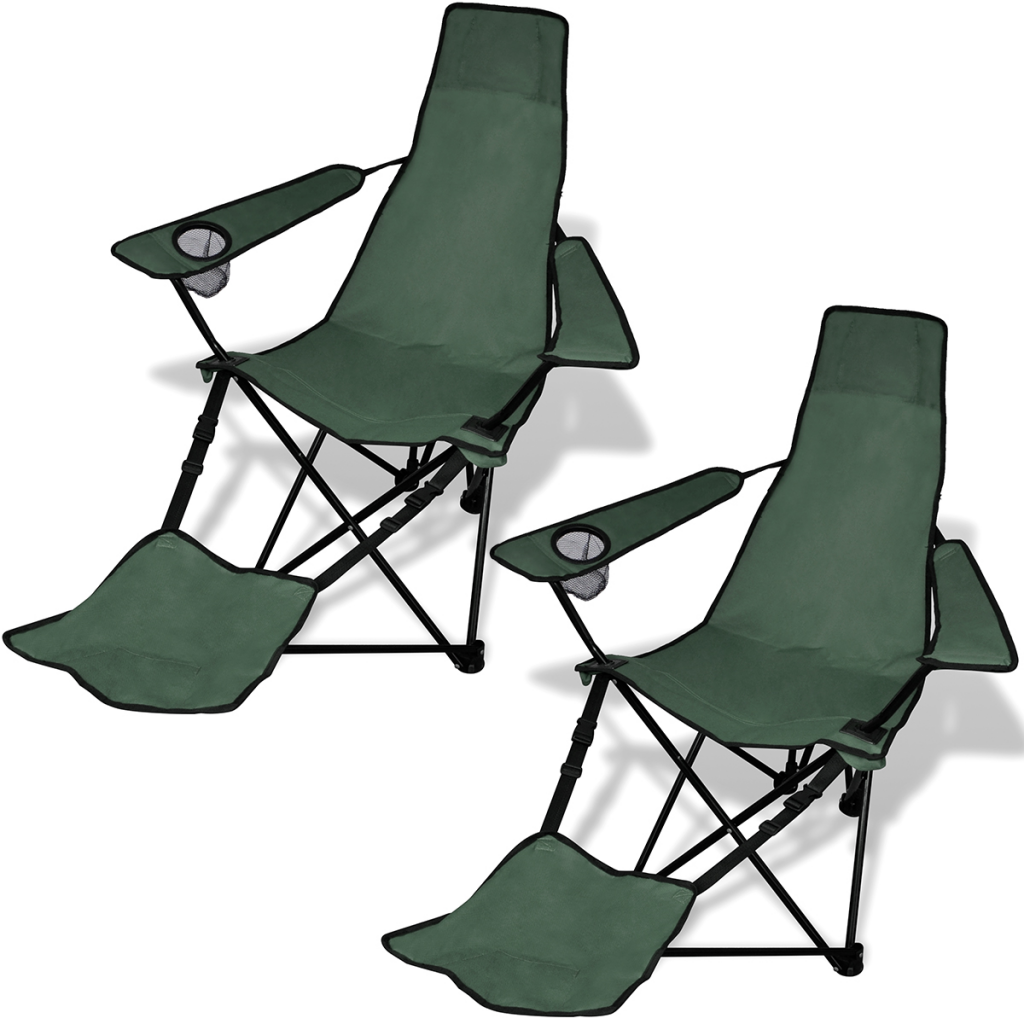 Merveilleux 2 Pcs Foldable Camping Chair With Footrest Dark Green