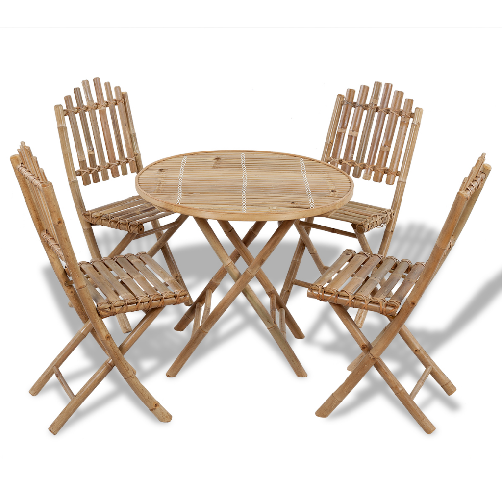 Set Outdoor Folding Dining Table 1 And 4 Bamboo Chairs