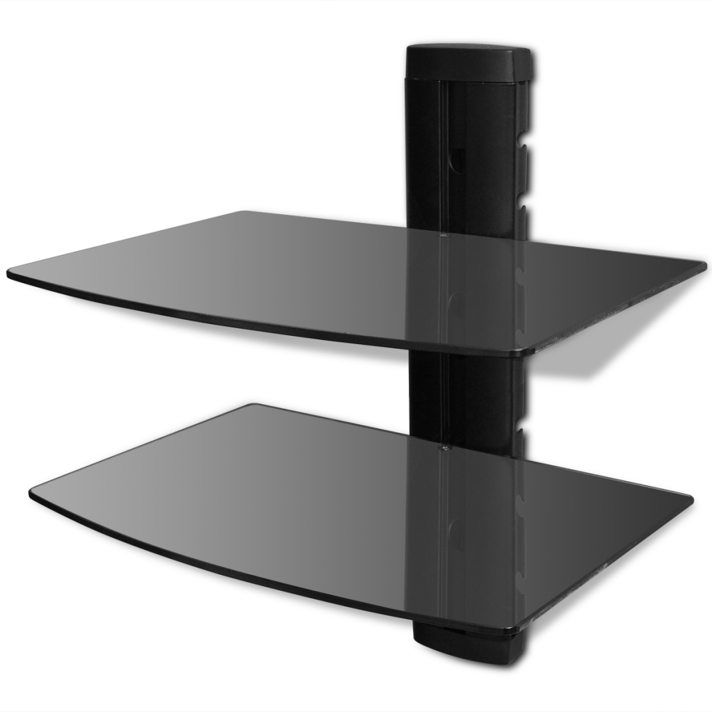 tag re murale noire 2 tablettes en verre pour dvd. Black Bedroom Furniture Sets. Home Design Ideas