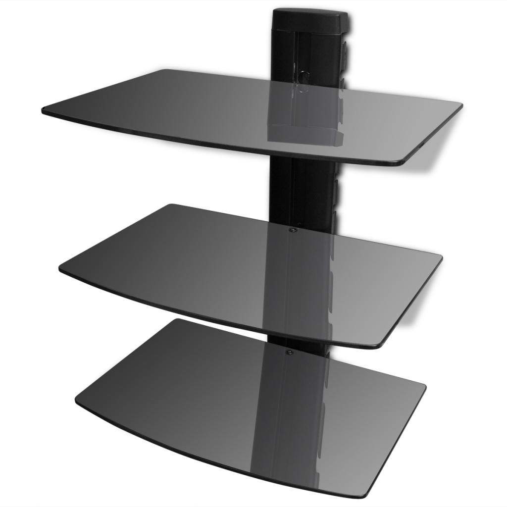 Étagère murale noire à 3 tablettes en verre pour DVD