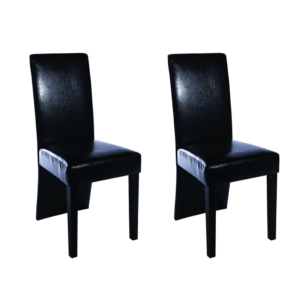 Black dining chairs set of 2 long black back for Long back dining chairs