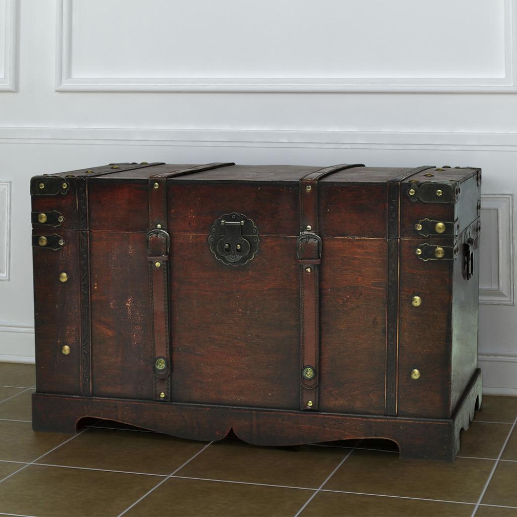 Wonderful brown Vintage Large Wooden Treasure Chest - LovDock.com MG66