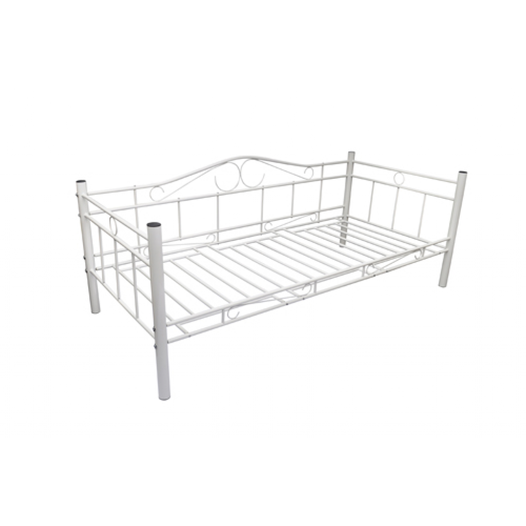 white sofa metal bed 90 x 200 cm white
