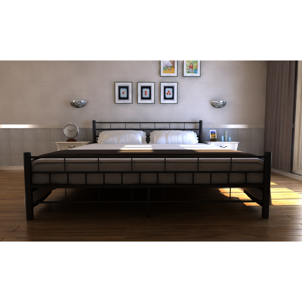 lit standard 2 personnes noir. Black Bedroom Furniture Sets. Home Design Ideas
