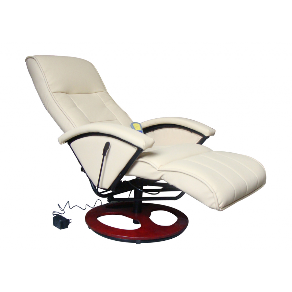 Fauteuil Relaxation Massant Blanc Cr Me Bois Interougehome
