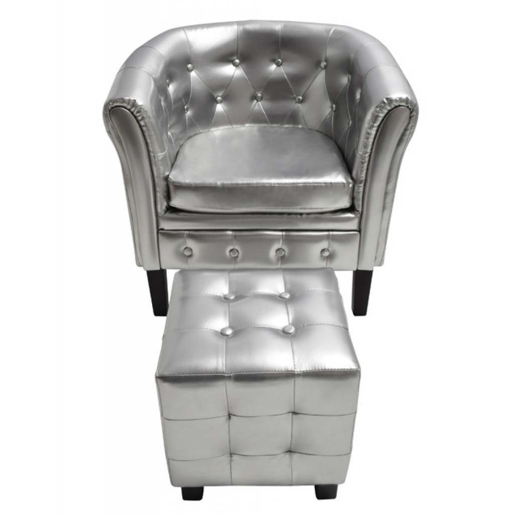 Fauteuil Chesterfield avec repose pied argent | Interougehome