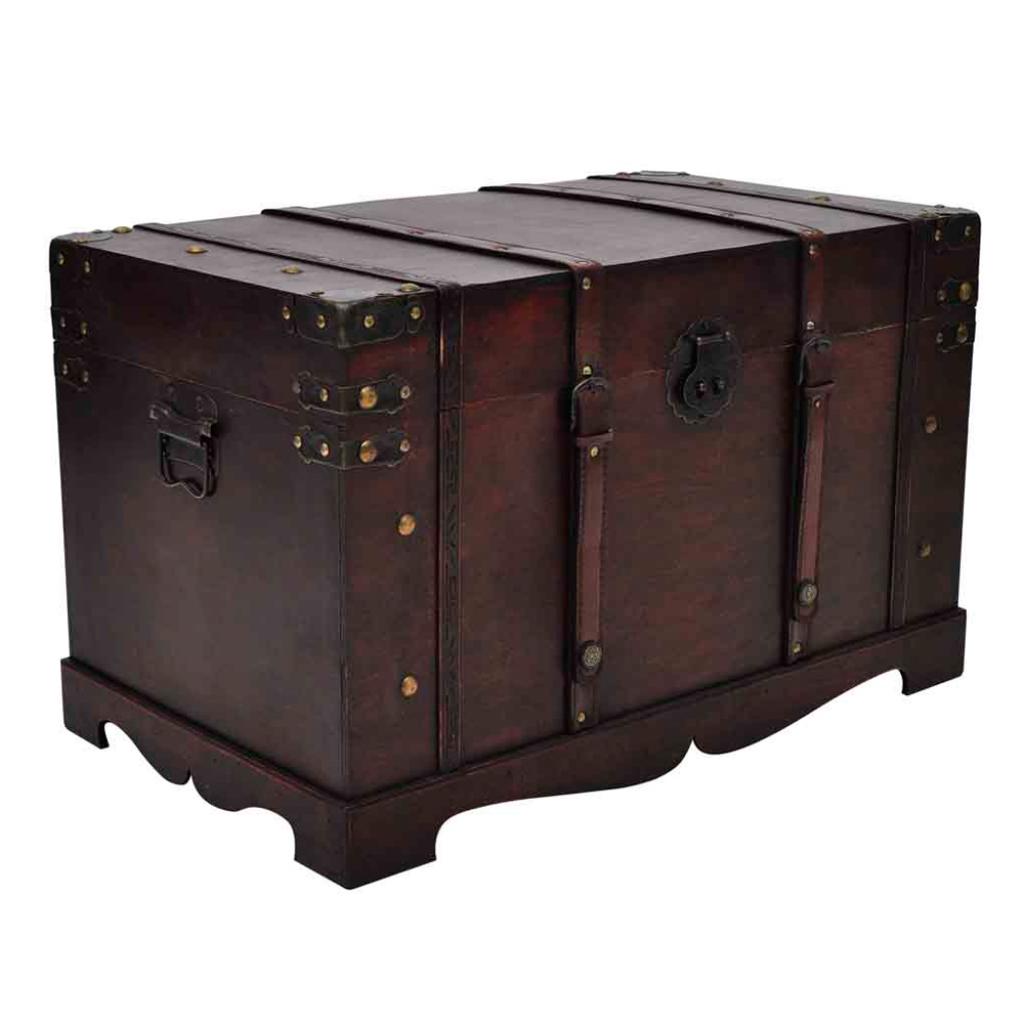 coffre de rangement en bois brun. Black Bedroom Furniture Sets. Home Design Ideas
