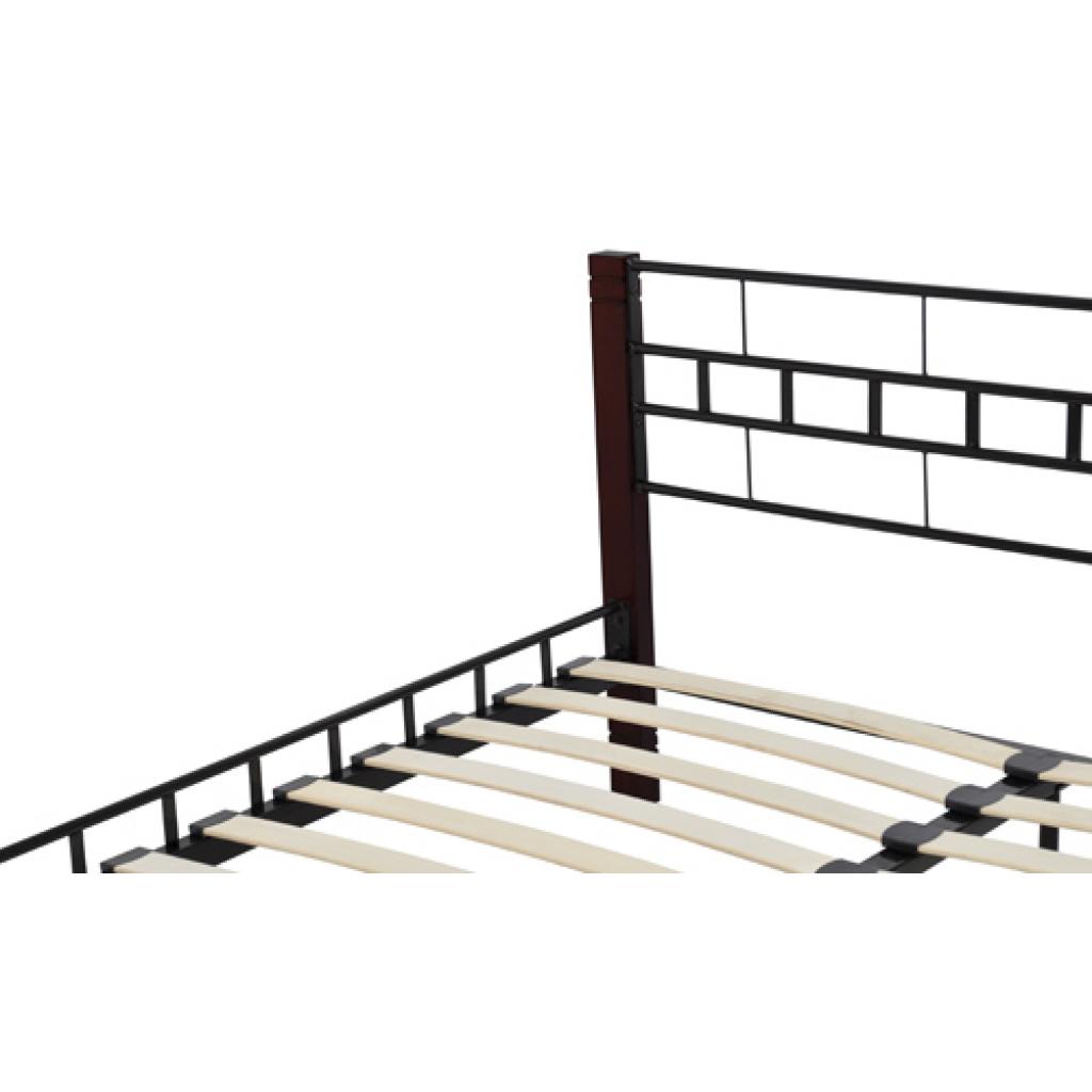 brown metal bed with wooden feet black 140 x 200 cm. Black Bedroom Furniture Sets. Home Design Ideas