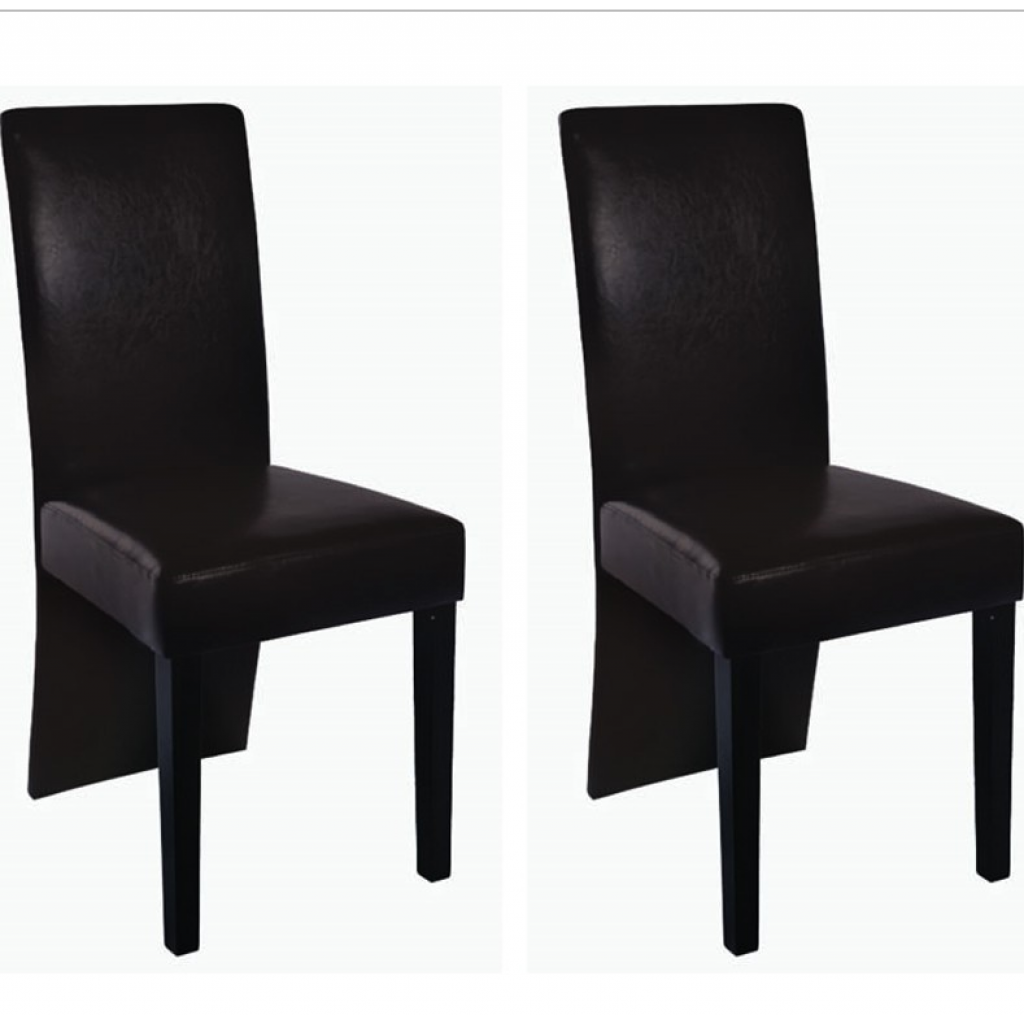 S lo 2 sillas de comedor imitaci n de cuero marr n for Sillas comedor cuero marron