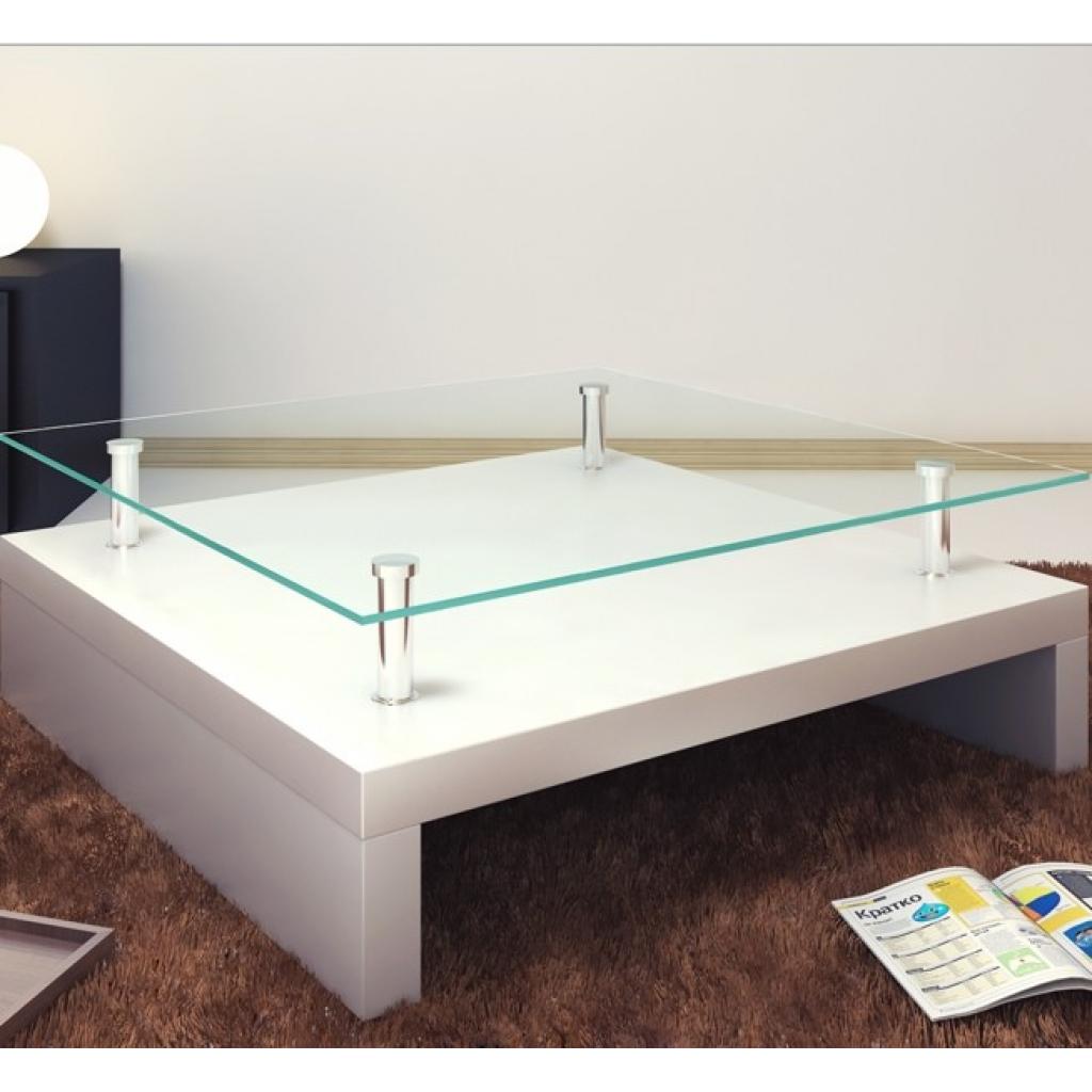 white Living Room Coffee Table, Square Glass Coffee Table - LovDock.com