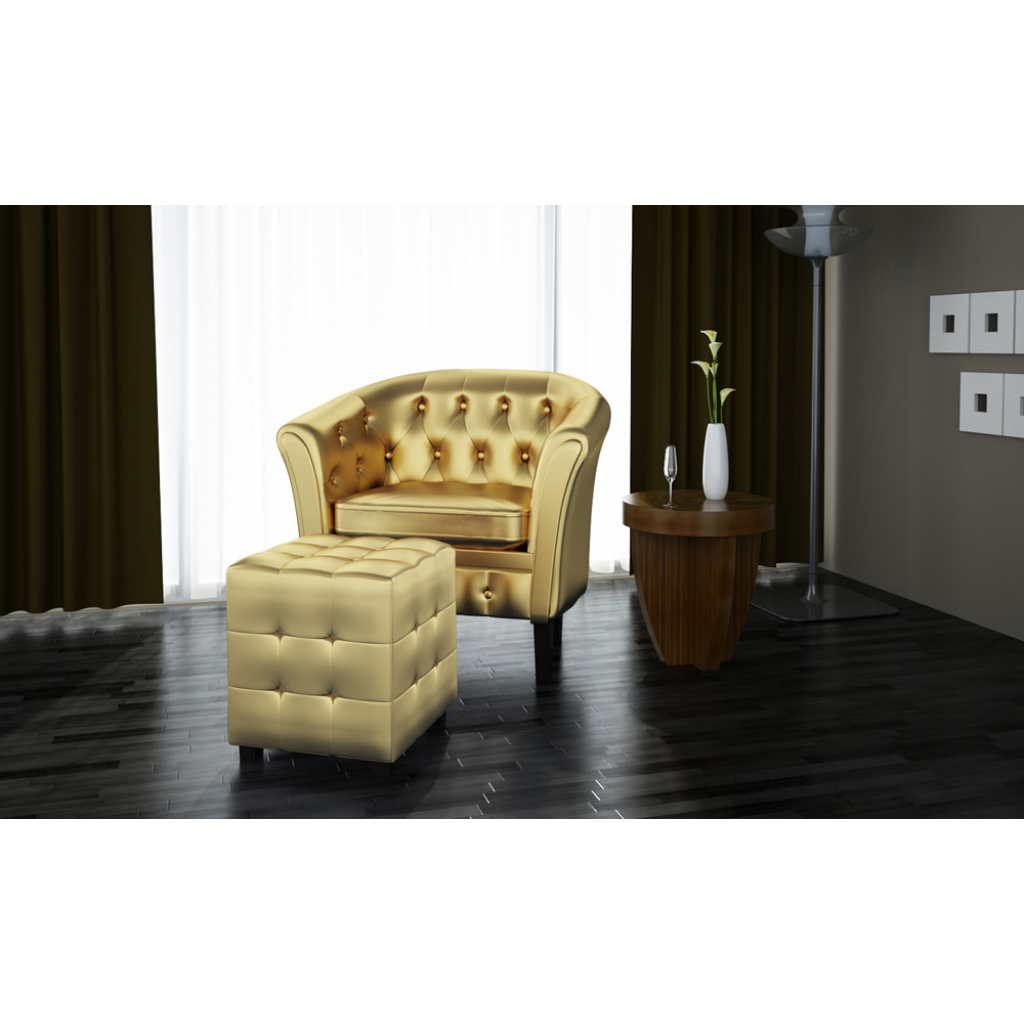 Chesterfield Armchair With Stool Gold