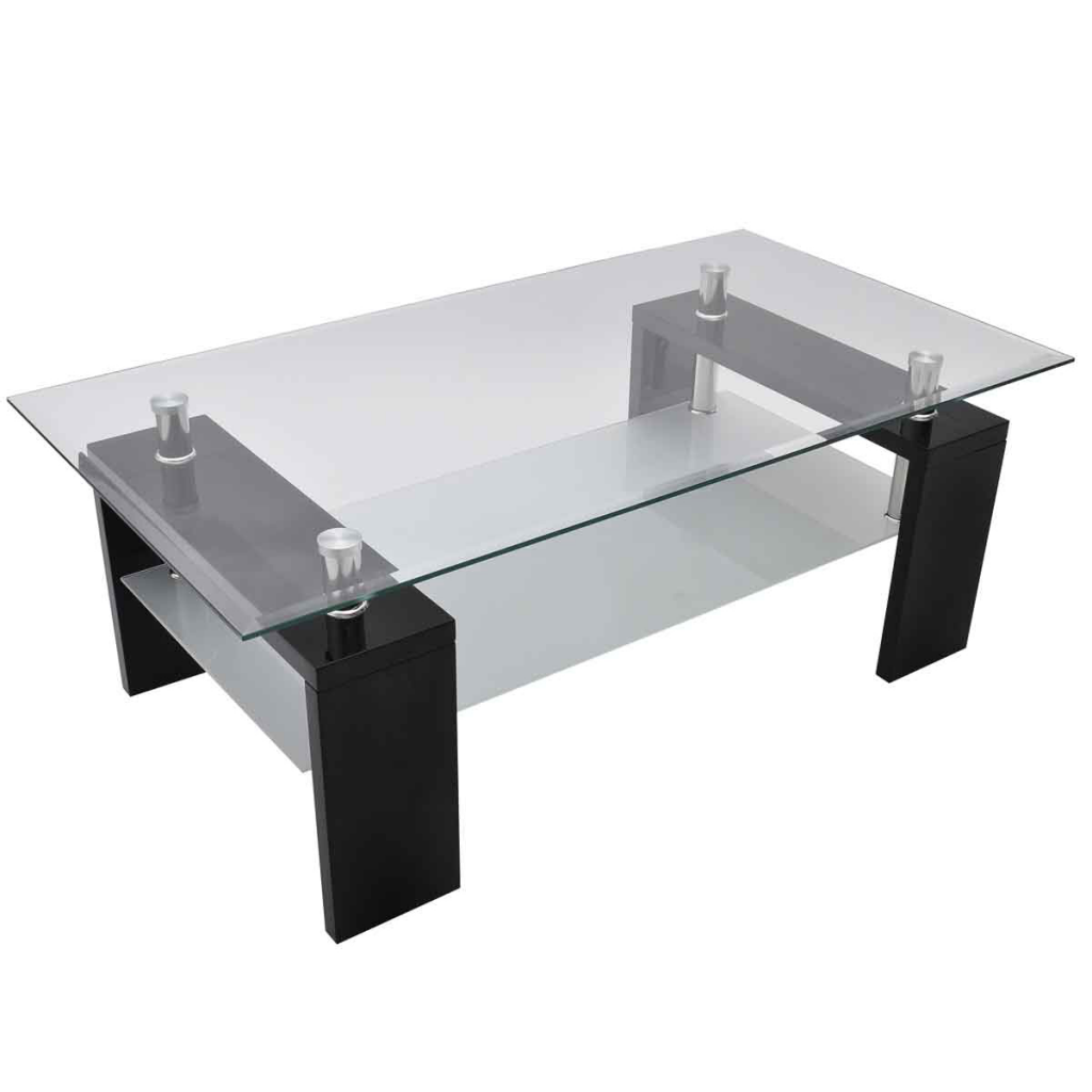 Only 117 41 Table Basse Salon Rectangulaire En Verre Noir Lovdock Com