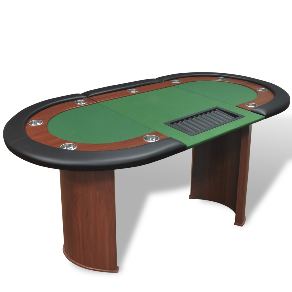 Ordinaire 10 Player Poker Table With Dealer Area And Chip Tray Green