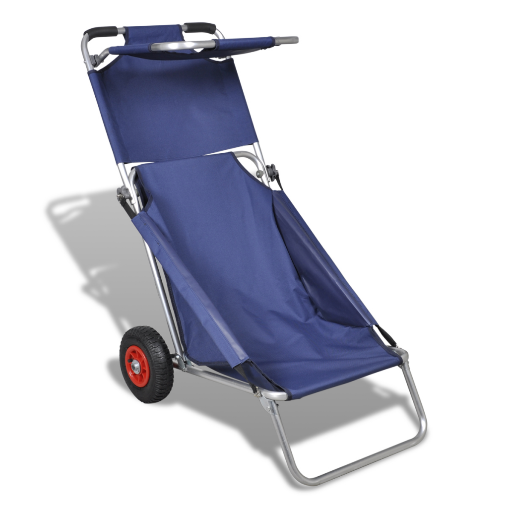 Portable Beach Trolley Chair Table Three In One Blue