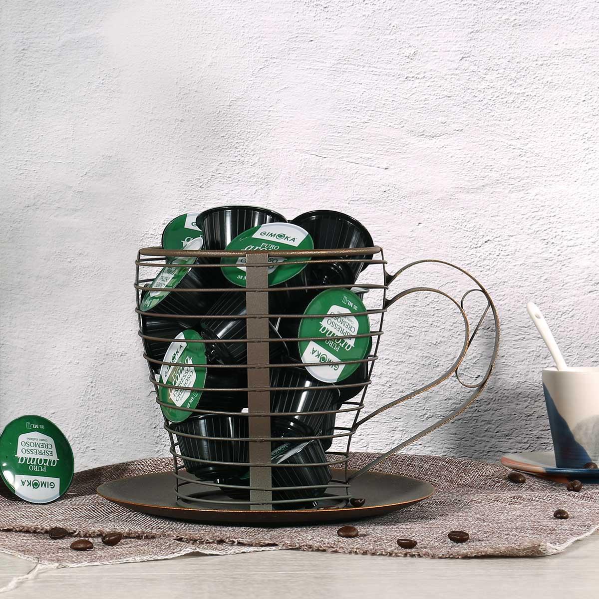 Brown Coffee Pod Container Espresso Holder Kup Keeper Mug Storage Basket