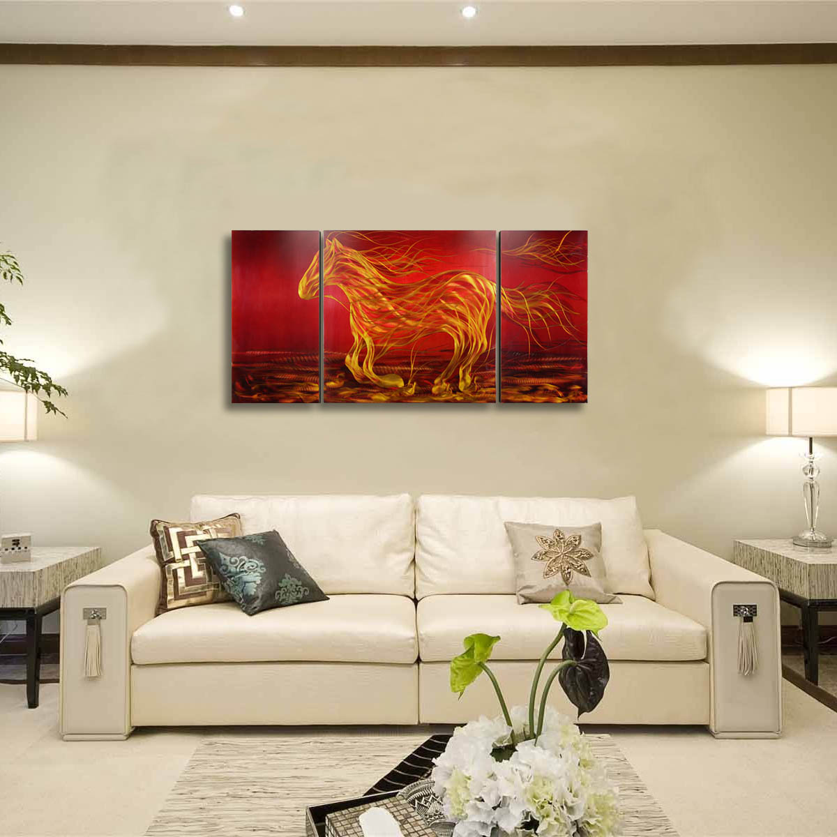 Best and cheap red Tooarts Running Horse Modern Painting Wall Art ...