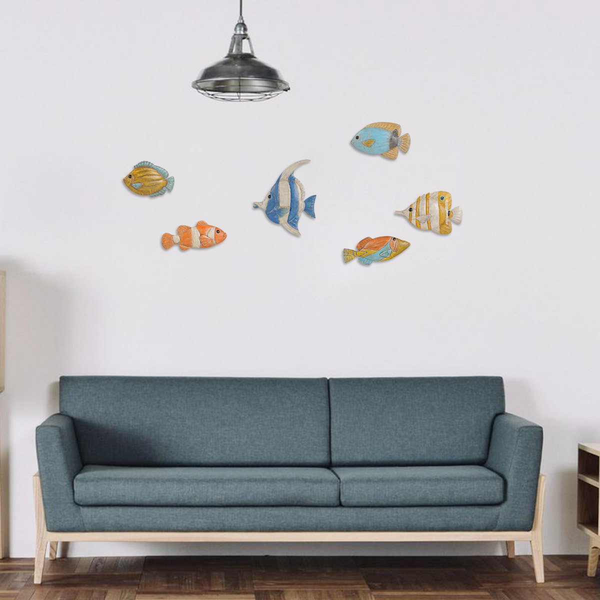 Fish Wall Hanging 1 Iron Wall Decor Creative Ornament Craft Wall Setting  Wall Hanging Marine Life