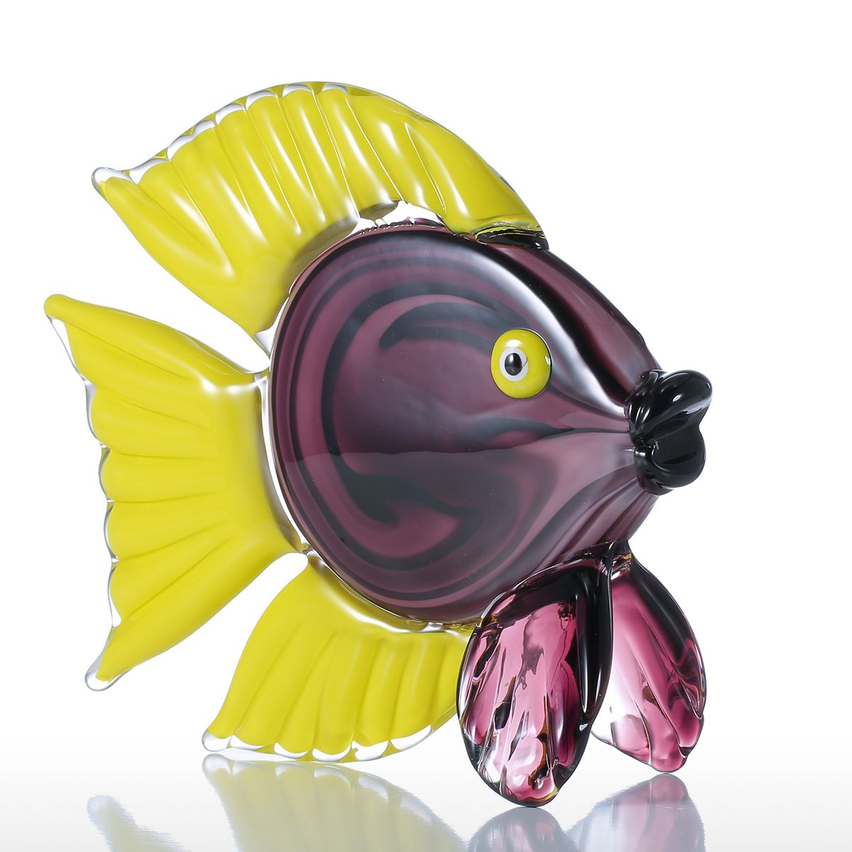 Best and cheap purple Tooarts Yellow Tropical Fish Glass Sculpture Home Decor Animal Ornament Gift Craft Decoration - Tooarts.com