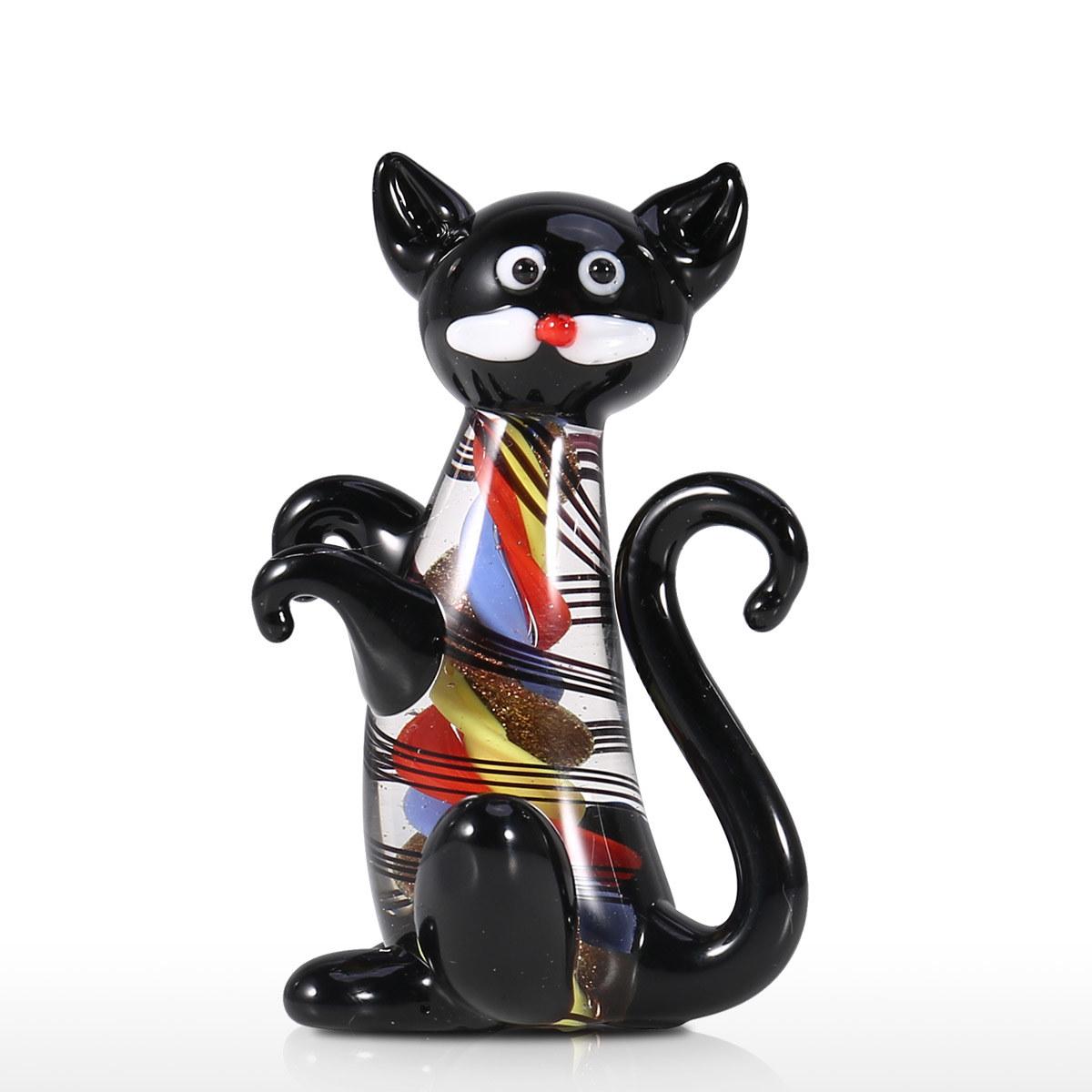 Gatito Negro Mini Gato Lindo Estatuilla De Cristal Estatua Animal