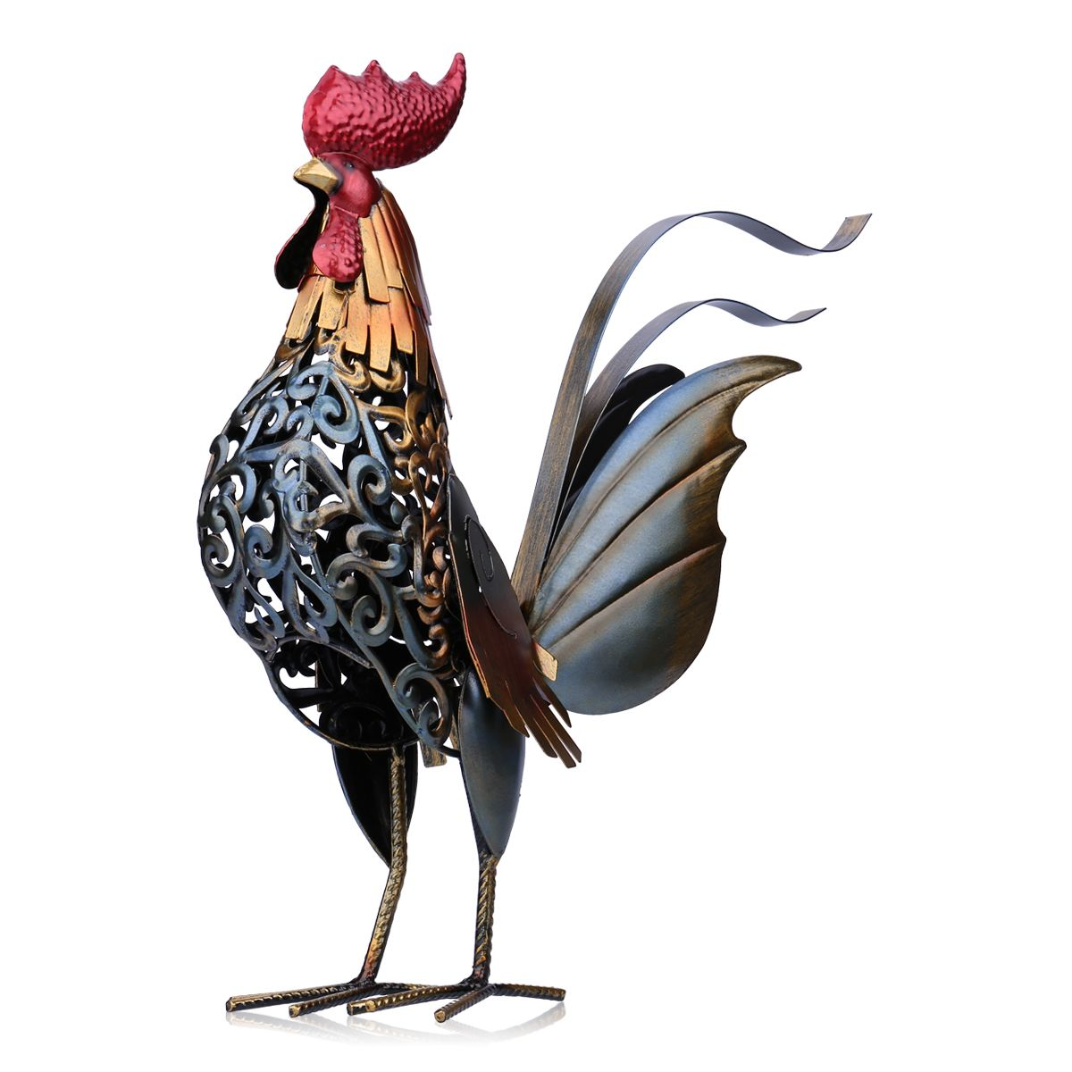 Tooarts Metal Figurine Iron Rooster Home Decor Articles: Best And Cheap Multicolored Tooarts Carved Iron Rooster