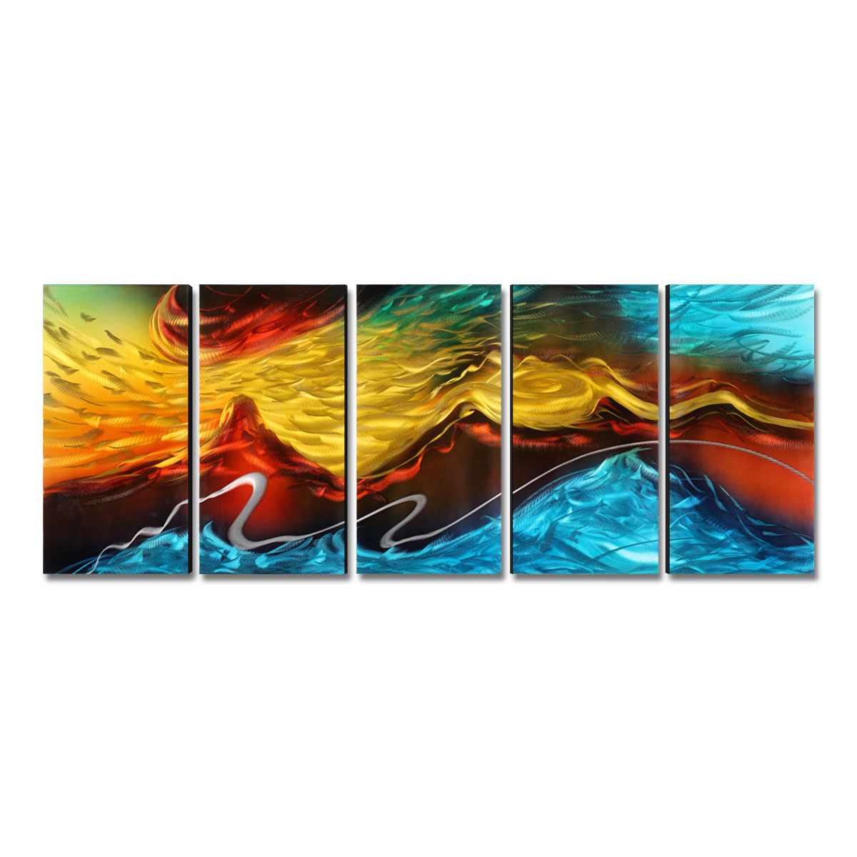 Tooarts Fire And Ice Modern Painting Abstract Wall Art Home Decoration 5  Panels Multicolor