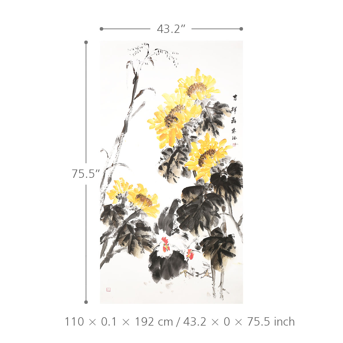 Pintura De Tinta China De Pollo Y Crisantemo 100 Ilustraciones Hechas A Mano Originales Arte De La Pared Para La Oficina Decoración Para El Hogar Colgante