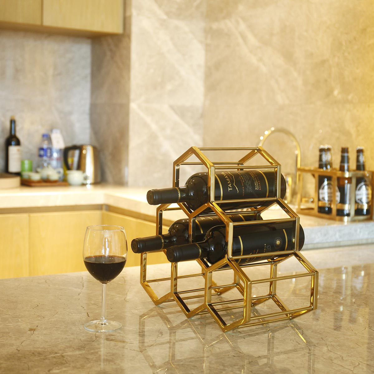 Best and cheap golden Honeycomb Wine Rack Metal Wine Holder ...