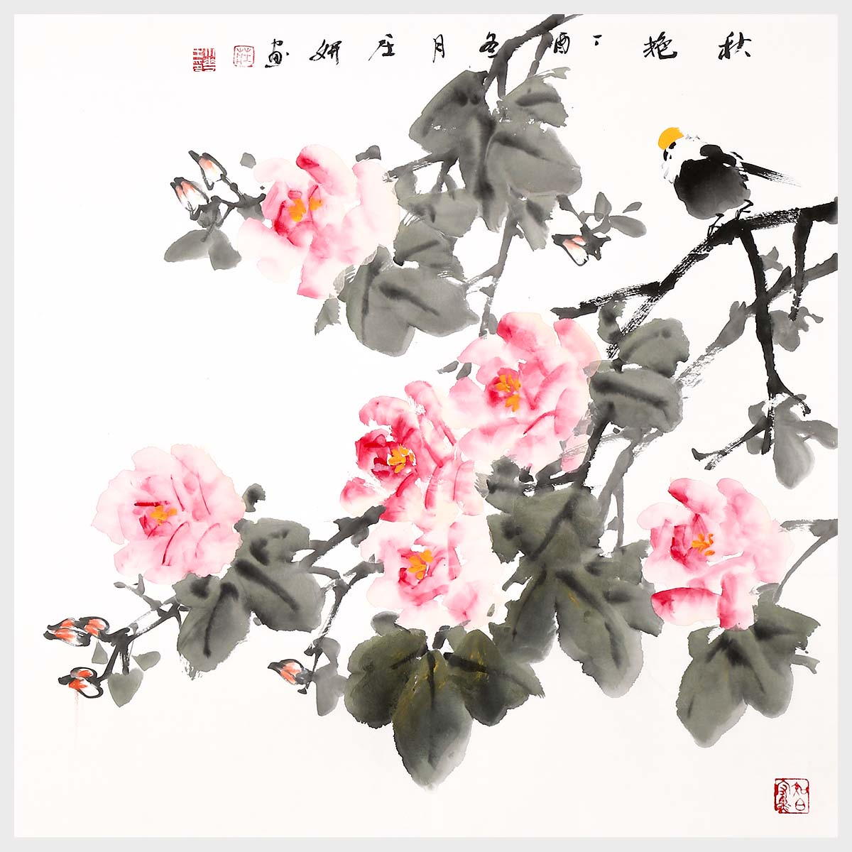 Cottonrose Hibiscus Flower And Bird Painting Wall Art Painting Nature