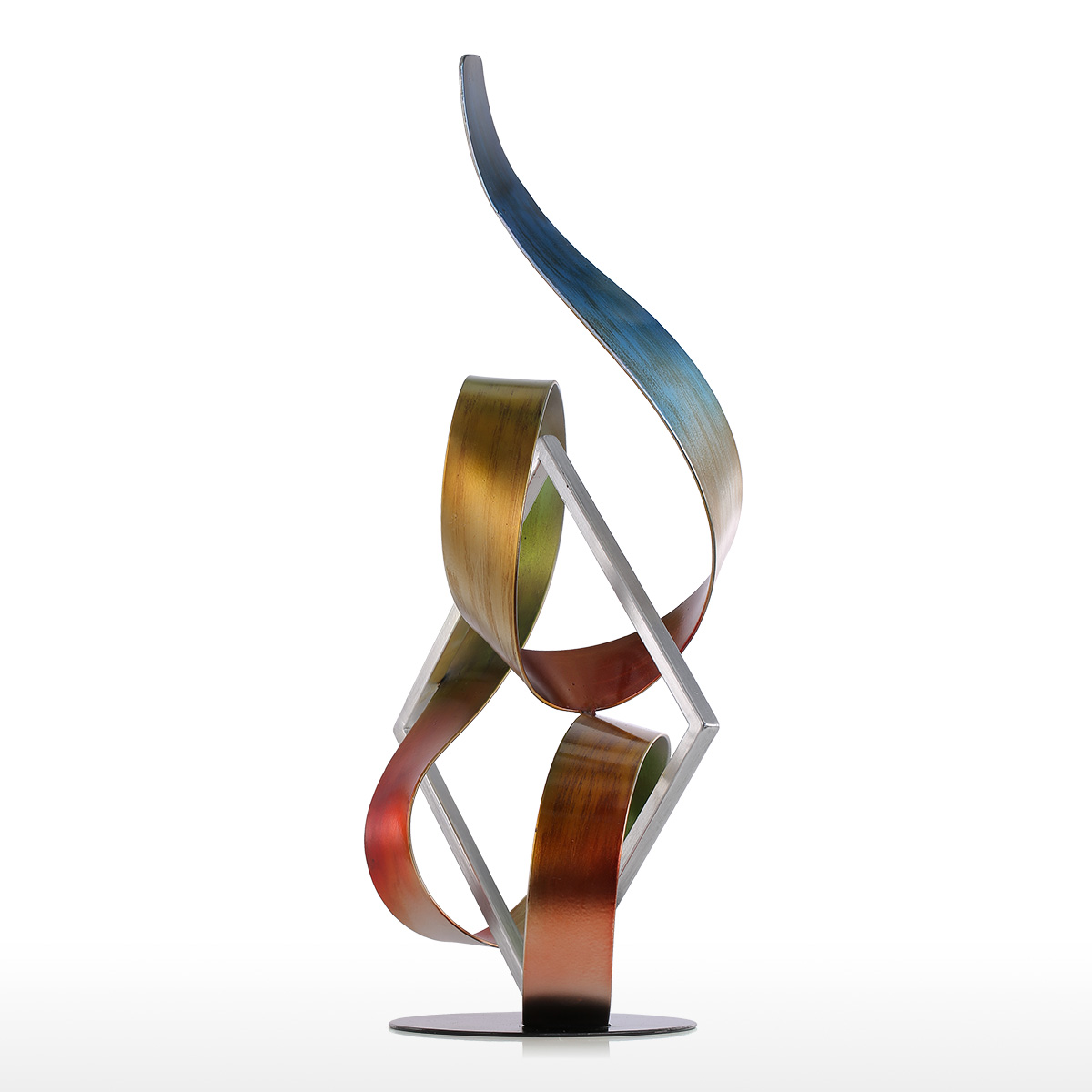 best and cheap multicolored tooarts square and ribbon modern  - tooarts square and ribbon modern sculpture abstract sculpture metalsculpture indooroutdoor decor