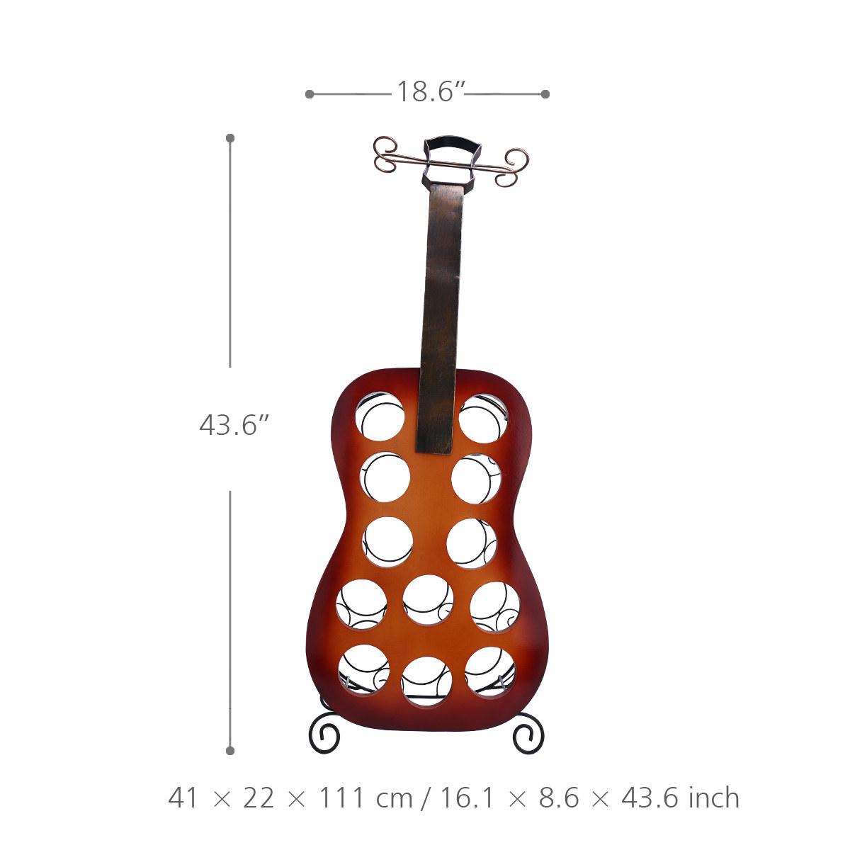 Tooarts 12 Flaschen Gitarre Weinregal Grosse Gitarre Kunst Dekoration Kreative Weinregal Robustes Eisen Und Holz Handgemachte