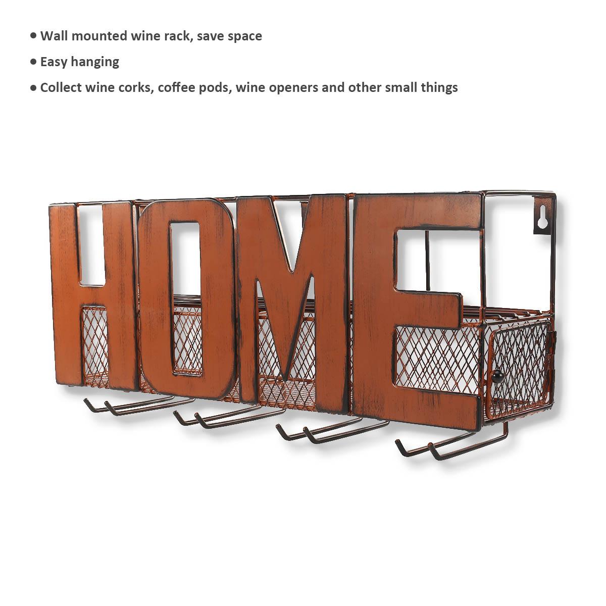 Wand montiert Weinregal Kork Vorratsbehälter Glashalter mit 5 Kork ...