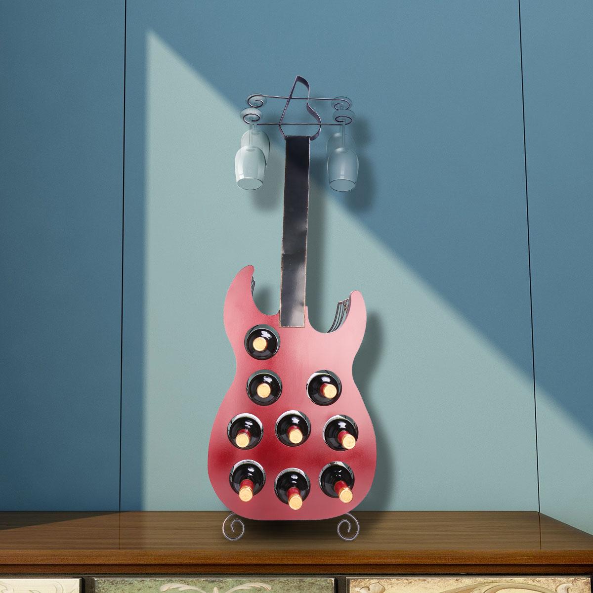 Tooarts 9 Flaschen Gitarre Weinregal Grosse Gitarre Kunst Dekoration Kreative Weinregal Robustes Eisen Und Holz Handgemachte