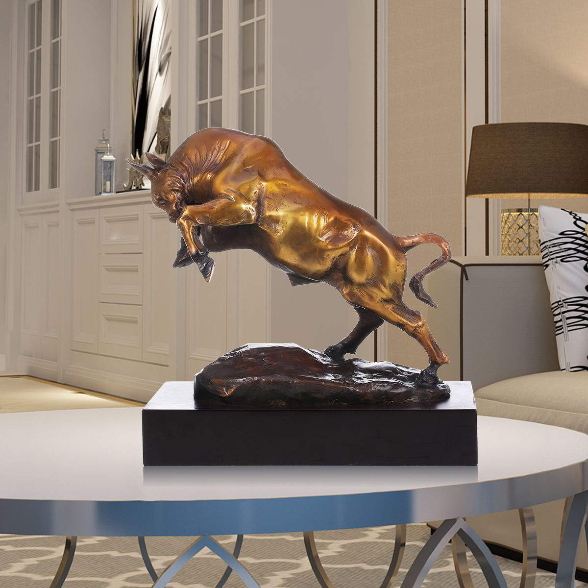 Vigorous Cattle Tooarts Handmade Bronze Sculpture Modern Art Home Decor