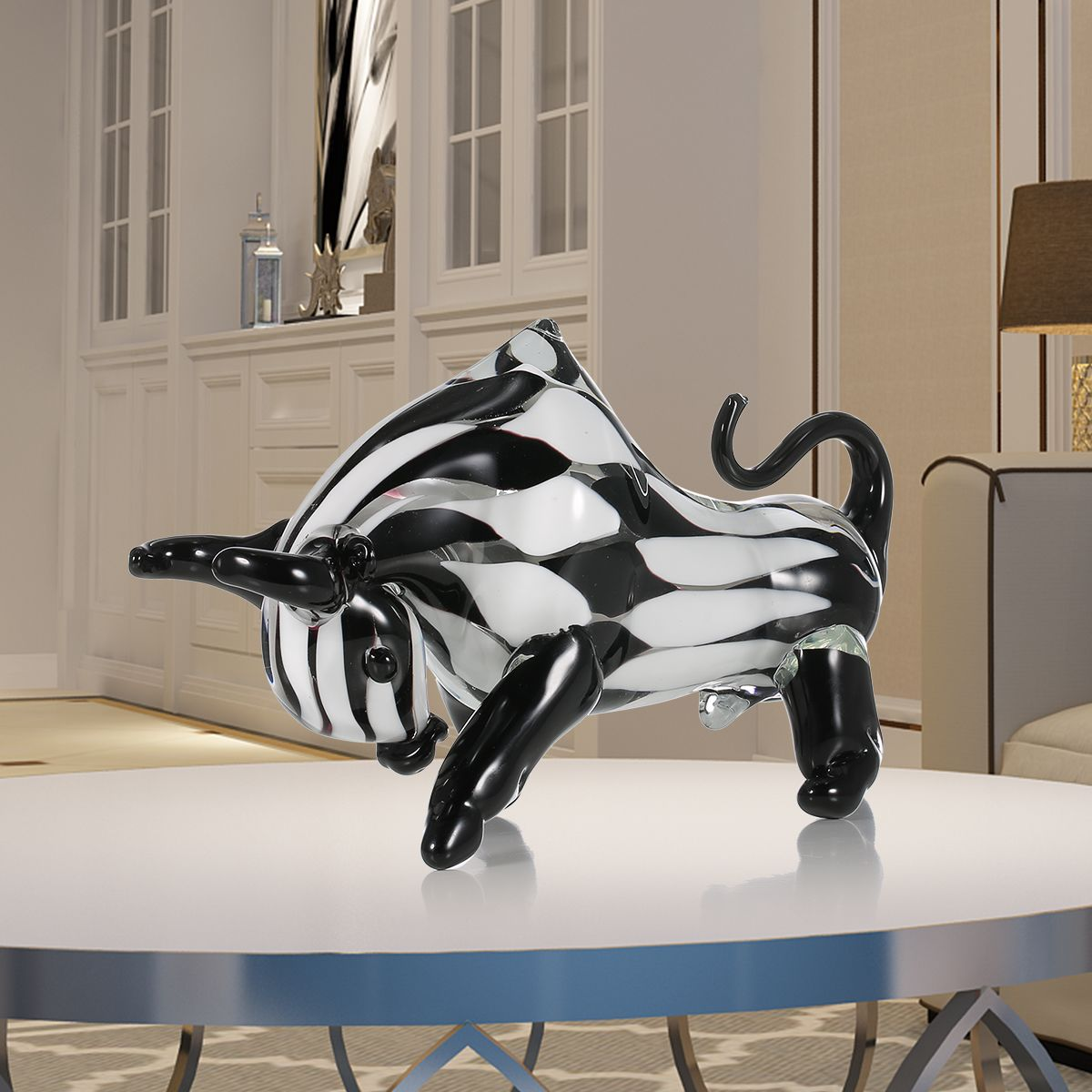 Tooarts Blacku0026White Cattle Glass Sculpture Home Decor Animal Ornament Gift  Craft Decoration