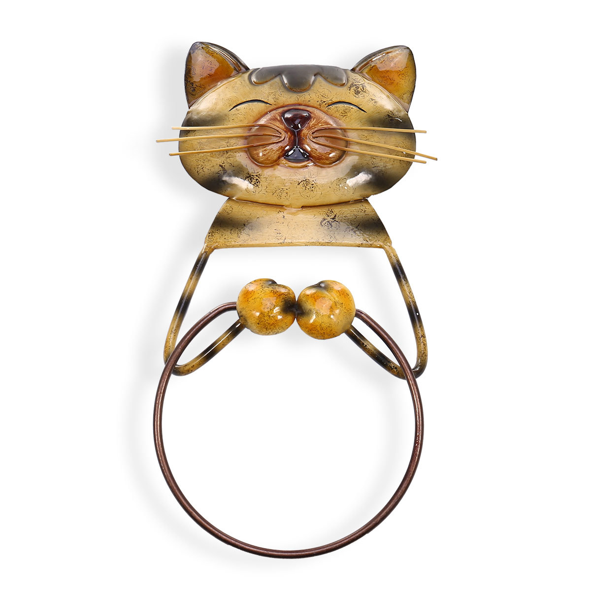 Best and cheap yellow Cat Towel Ring Holder Heavy Duty Iron Bathroom Hanger  Towel Holder Lovely Animal Bathroom Accessories - Tooarts com
