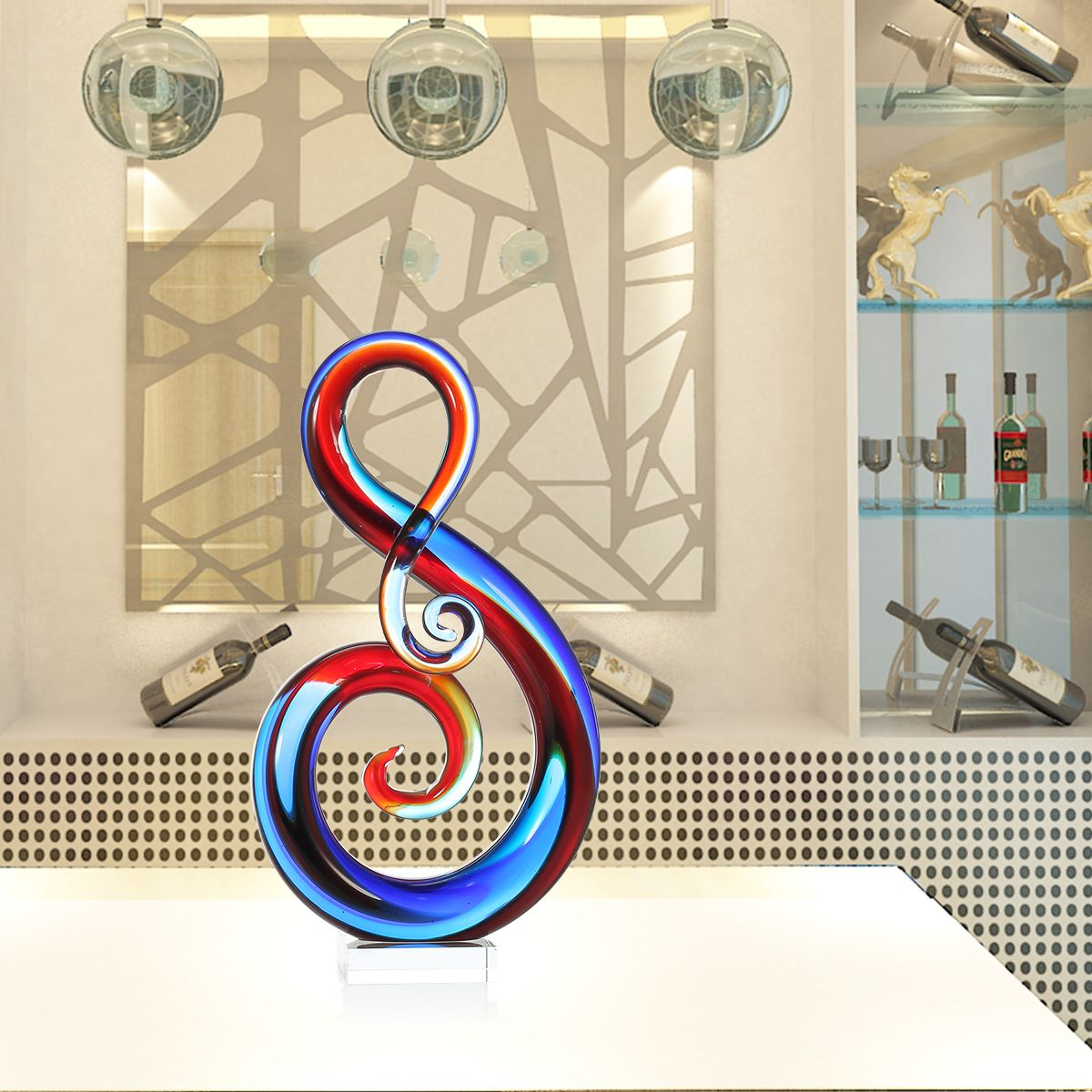 Best and cheap multicolored tooarts music note glass for Gift craft home decor